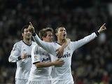 Real Madrid's Cristiano Ronaldo celebrates scoring against Sevilla on February 9, 2013