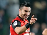 Rennes' Romain Alessandrini celebrates a goal against Lille on September 28, 2012