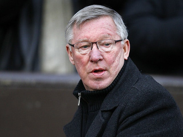 Manchester United boss Sir Alex Ferguson prior to kick-off against Everton on February 10, 2013