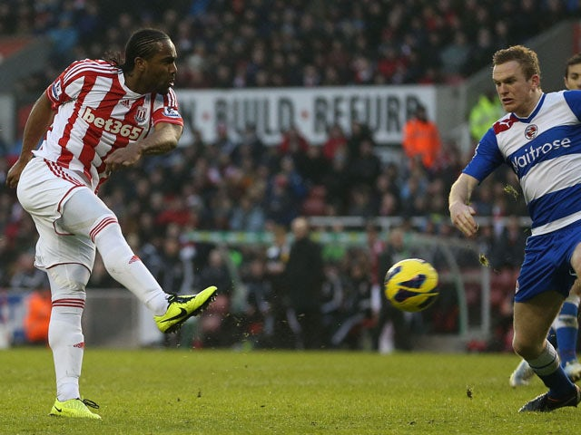 Stoke City striker Cameron Jerome scores his side's second goal against Reading on February 9, 2013