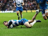 Scotland's Tim Visser scores a try against Italy during the Six Nations match on February 9, 2013
