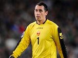 Montenegro goalkeeper Vukasin Poleksic on October 10, 2009