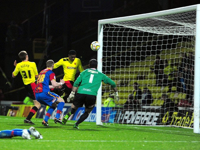 Watford's Nathaniel Chalobah scores his team's second goal in their match against Crystal Palace on February 8, 2013