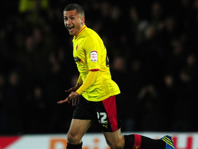 Watford player Almen Abdi celebrates scoring the opening goal in his side's match with Crystal Palace on February 8, 2013