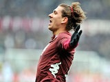Torino's Alessio Cerci celebrates after scoring the opening goal against Atalanta BC on February 17, 2013