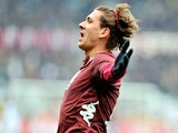 Torino's Alessio Cerci celebrates after scoring the opening goal against Atalanta BC on February 17, 2013