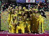 Australia celebrate with the trophy after beating West Indies to win the ICC Women's World Cup on February 17, 2013