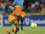 Ivory Coast's Bony Wilfried scores against Algeria on January 30, 2013