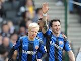 Barnsley's Chris Dagnall celebrates after scoring the opening goal against MK Dons on February 16, 2013