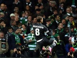 Juventus' Claudio Marchisio celebrates his goal against Celtic on February 12, 2013