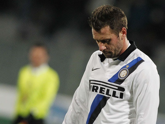 Inter Milan's Antonio Cassano looks despondent during his side's game with Fiorentina on February 17, 2013
