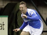 St Johnstone's Rowan Vine celebrates after scoring in his side's match with Hibernian on February 11, 2013