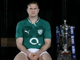Ireland captain Jamie Heaslip poses with the Six Nations trophy on January 23, 2012