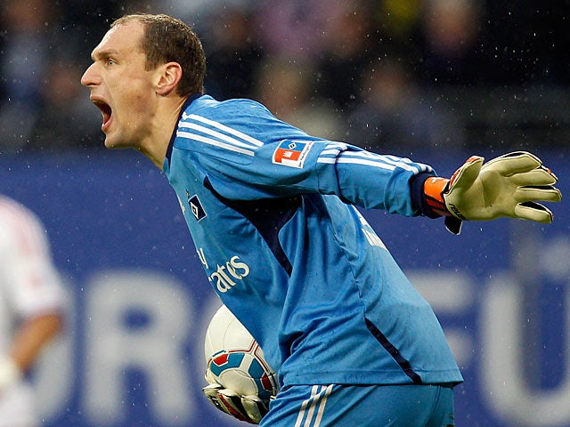 Hamburg goalkeeper Jaroslav Drobny in action on January 22, 2012