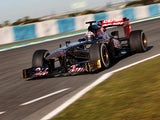 Toro Rosso's Jean-Eric Vergne during a test drive on February 7, 2013