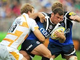 Bath player Lee Mears is tackled during his side's Aviva Premiership match with London Wasps on September 8, 2012