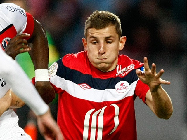 Lille's Lucas Digne in action on April 29, 2012