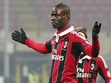 Milan striker Mario Balotelli celebrates a goal against Parma on February 15, 2013