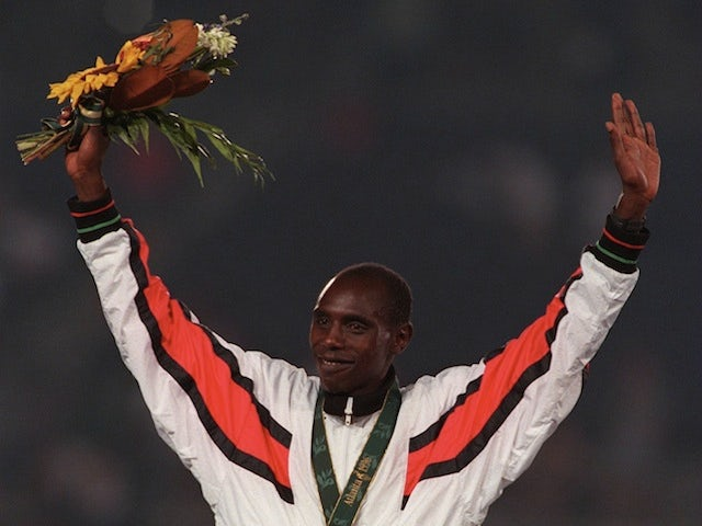 Kenyan athlete Moses Kiptanui after winning silver at the Atlanta Olympics on August 2, 1996