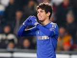 Oscar celebrates his late goal in the Europa League match against Sparta Prague on February 14, 2013