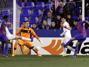 Levante's Pedro Rios scores against Olympiacos on February 14, 2013