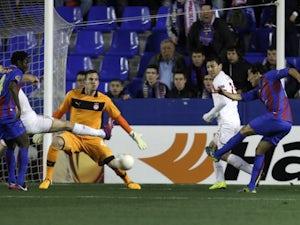 Levante's Pedro Rios scores against Olympiacos on February 14, 2013