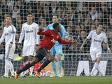 Manchester United's Danny Welbeck celebrates after scoring his side's first goal against Real Madrid on February 13, 2013
