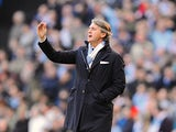 Manchester City boss Roberto Mancini on the touchline during the FA Cup 5th round match against Leeds on February 17, 2013