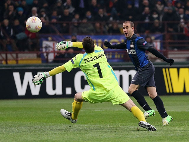 Inter's Rodrigo Palacio scores the opener in the Europa League match against CFR Cluj on February 14, 2013