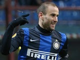 Inter's Rodrigo Palacio celebrates his second goal in the Europa League match against CFR Cluj on February 14, 2013