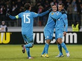 Zenit's Sergei Semak celebrates a goal against Liverpool on February 14, 2013