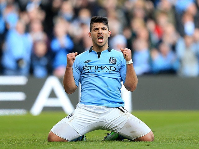 Manchester City's Sergio Aguero celebrates after scoring his second against Leeds in the FA Cup 5th round on February 17, 2013