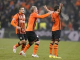 Darijo Srna of Shakhtar Donetsk celebrates after scoring against Borussia Dortmund on February 13, 2013