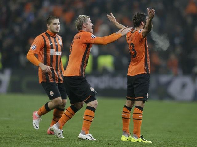 Darijo Srna of Shakhtar Donetsk celebrates after scoring against Borussia Dortmund on February 13, 2013