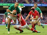Ireland's Simon Zebo is tackled during his side's match with Wales on February 2, 2013