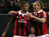 AC Milan's Kevin-Prince Boateng celebrates after scoring against Barcelona in the Champions League round of 16 tie on February 20, 2013