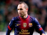 Barcelona's Andres Iniesta in action against Celtic on November 7, 2012