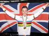 Great Britain's Becky James celebrates after winning Gold in the Keirin on day five of the UCI Track Cycling World Championships on February 24, 2013