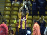 Bradford's Benito Carbone celebrates a goal against Stockport on September 25, 2001