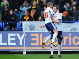 Bolton Wanderers player Craig Dawson celebrates scoring against Hull City on February 23, 2013