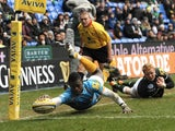 Wasps' Christian Wade scores a try during a game with London Irish on February 24, 2013