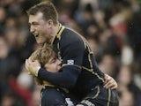 Scotland players Dave Denton and Stuart Hogg celebrate Six Nations victory over Ireland on February 24, 2013