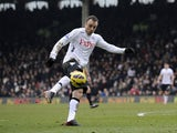 Fulham forward Dimitar Berbatov scores against Stoke on February 23, 2013