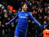 Chelsea's Eden Hazard celebrates scoring the equaliser against Sparta Prague on February 21, 2013