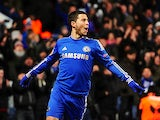 Chelsea's Eden Hazard celebrates scoring the equaliser against Sparta Prague on February 21, 2013