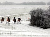 Snow covered tracks with racehorses walking on it, dated January 19, 2001