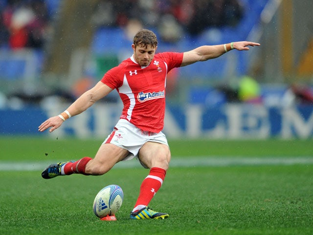 Wales' Dan Biggar scores during his side's Six Nations match against Italy on February 23, 2013