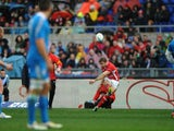 Wales' Leigh Halfpenny scores during the Six Nations match with Italy on February 23, 2013