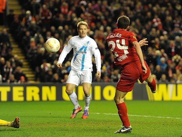 Liverpool's Joe Allen scores the team's second against Zenit St Petersburg on February 21, 2013