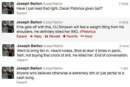 Screengrab of Joey Barton's tweets about Oscar Pistorius on February 22, 2013
